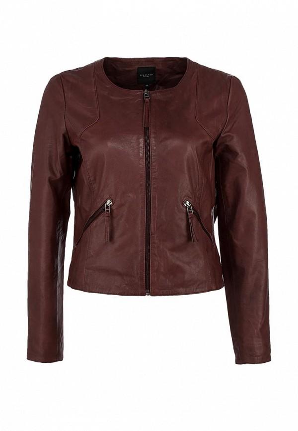 Куртка кожаная Selected Femme SE781EWIW219. Цвет: бордовый, коричневый