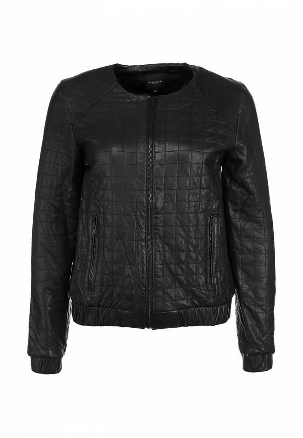Куртка кожаная Selected Femme SE781EWKP454. Цвет: черный