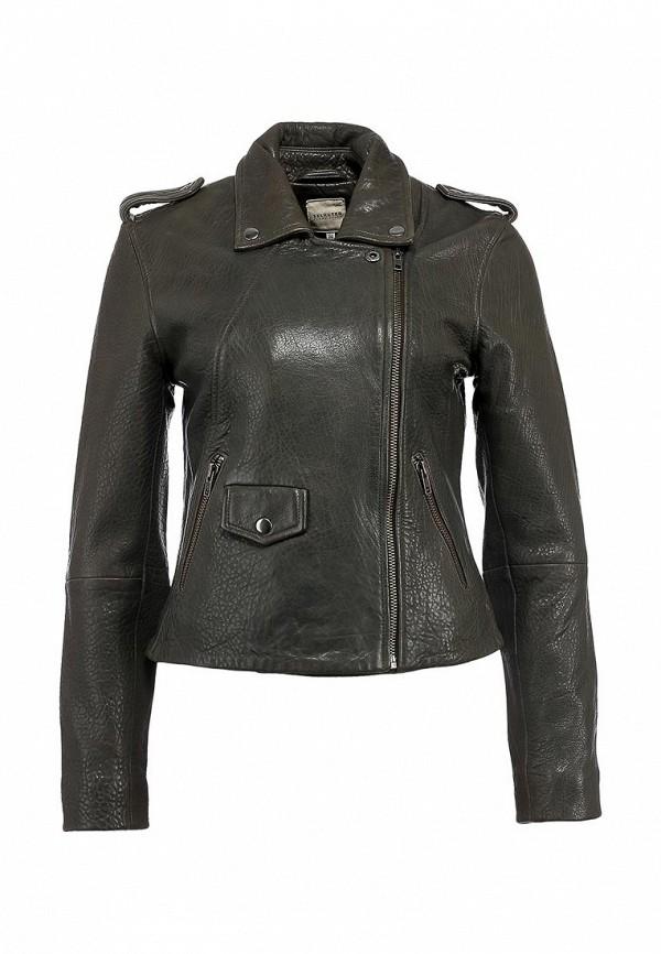 Куртка кожаная Selected Femme SE781EWKP473. Цвет: серый