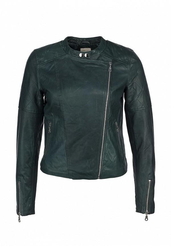 Куртка кожаная Selected Femme SE927EWIQ128. Цвет: зеленый