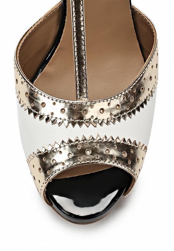 фото Босоножки женские на каблуке Sinta SI293AWBDG12, черно-белые/золото