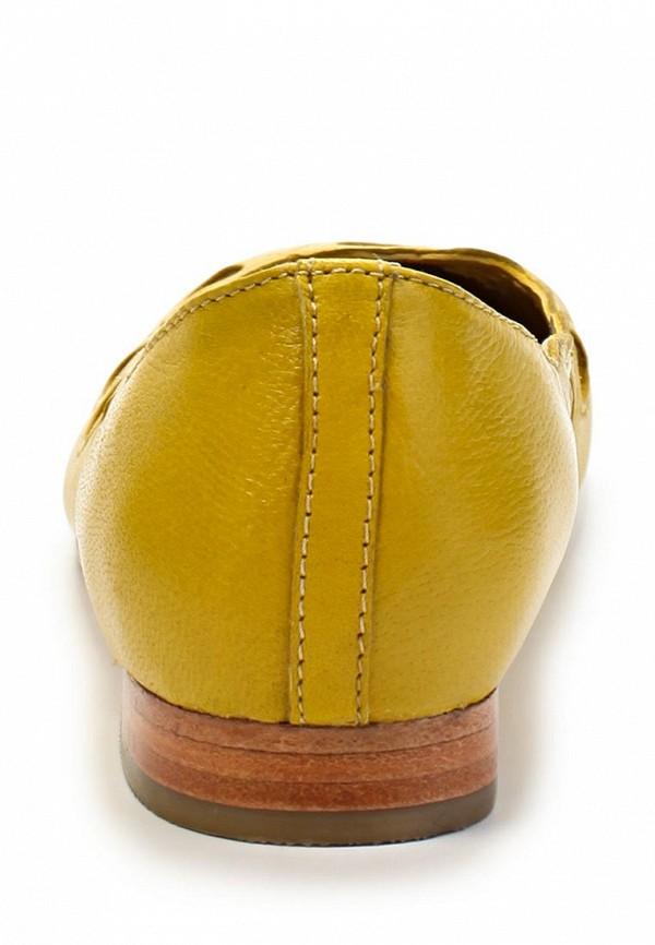 фото Балетки на каблуке Stefanel ST975AWHW234, желтые кожаные