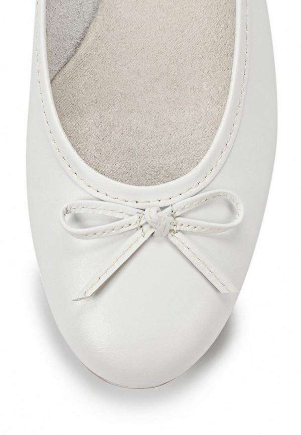 фото Женские балетки на каблуке Tamaris, белые кожаные