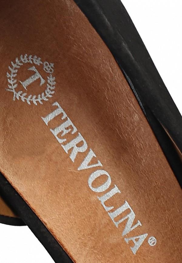 фото Туфли на толстом каблуке Tervolina TE007AWAQI25, черные (кожа, лак)