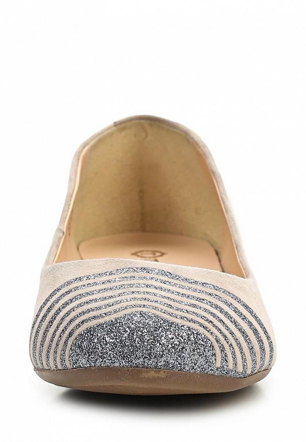 фото Балетки женские Tervolina, бежевые/кремовые на каблуке (велюр)