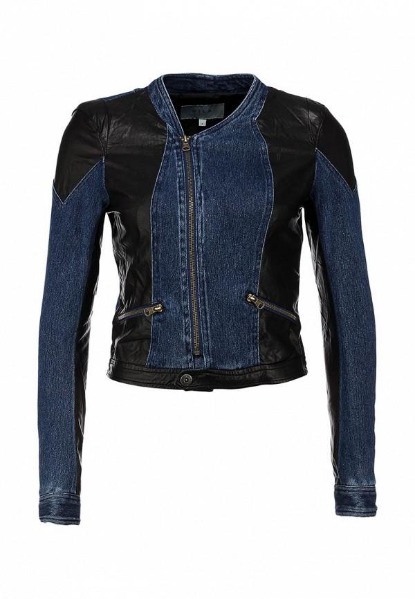 Джинсовая куртка Vila VI004EWIM806. Цвет: коричневый, синий