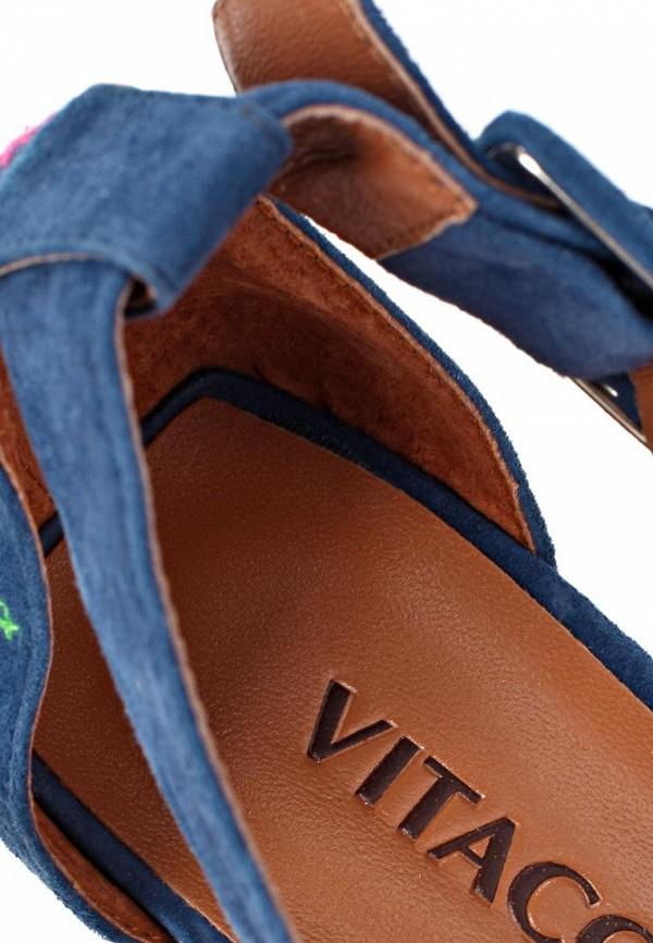 фото Босоножки на танкетке Vitacci VI060AWAJU89, темно-синие