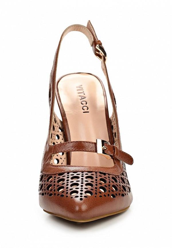 фото Туфли на высоком каблуке Vitacci VI060AWAJW12, коричневые без задника
