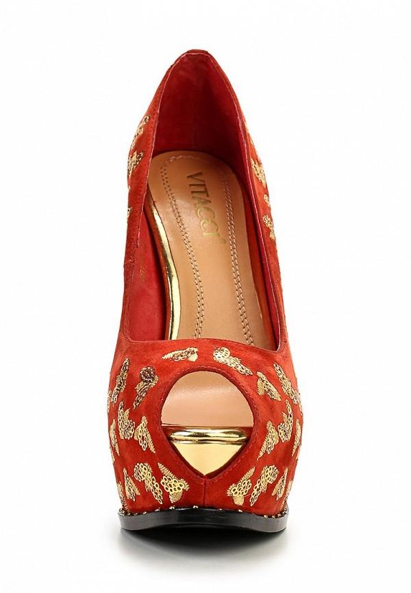 фото Туфли на платформе и шпильке Vitacci VI060AWAJW30, красные с золотым