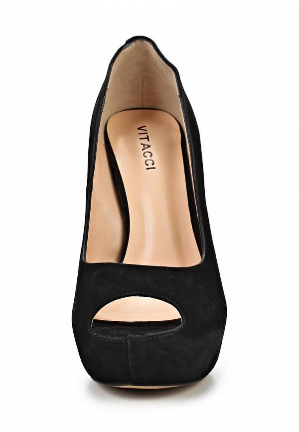 фото Туфли на платформе и высоком каблуке Vitacci VI060AWAJW50, черные (замша)