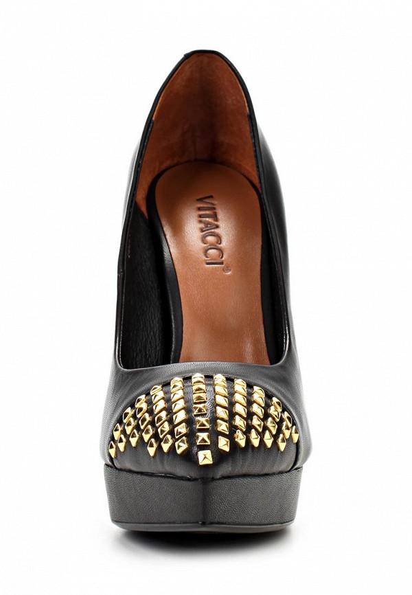 фото Туфли на платформе и шпильке Vitacci VI060AWAJW62, черные кожаные