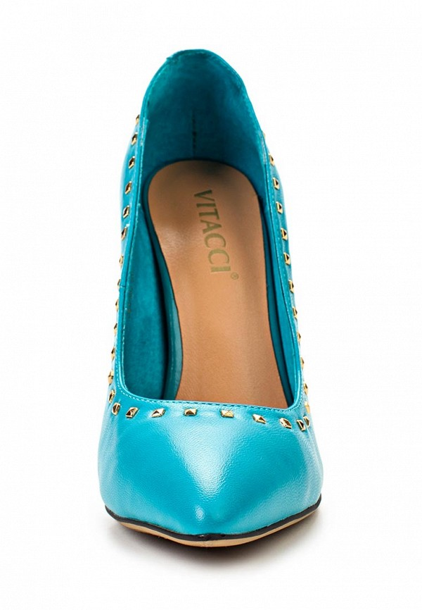 фото Туфли на высоком каблуке Vitacci VI060AWAJW72, голубые кожаные