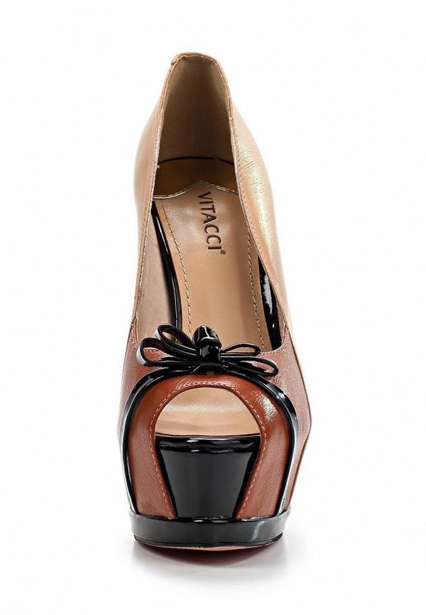 фото Туфли на платформе с открытым носом Vitacci VI060AWBCX42, коричнево-бежевые