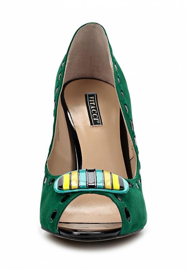 фото Женские туфли на каблуке с открытым носом Vitacci VI060AWBCX55, зеленые