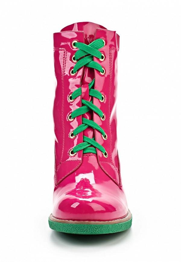 фото Ботильоны на толстом каблуке Vivian Royal, розовые лаковые со шнуровкой