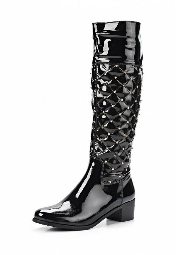 фото Сапоги на низком каблуке Vivian Royal VI809AWCOA96, черные (кожа, лак)