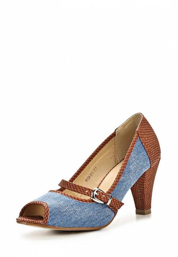 фото Туфли на каблуке с открытым носом Wilmar WI064AWAPW24, коричнево-синие