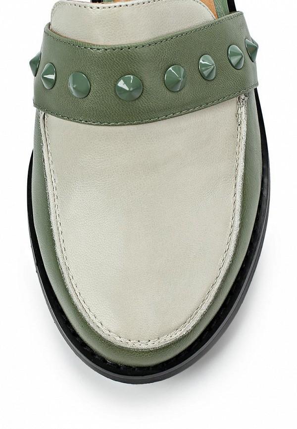 фото Лоферы женские на каблуке Yaro YA805AWAQK89, зеленые с белым