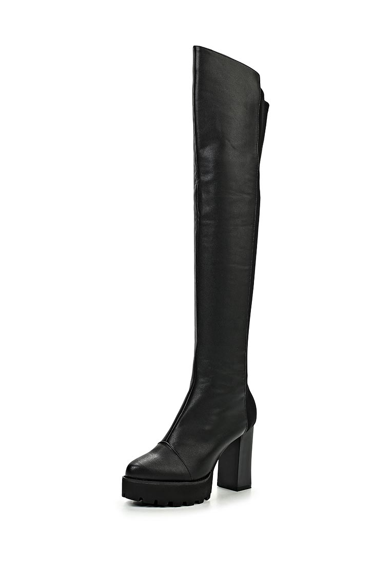 LOST INK CLEATED HEELED OTK BOOT BLACK