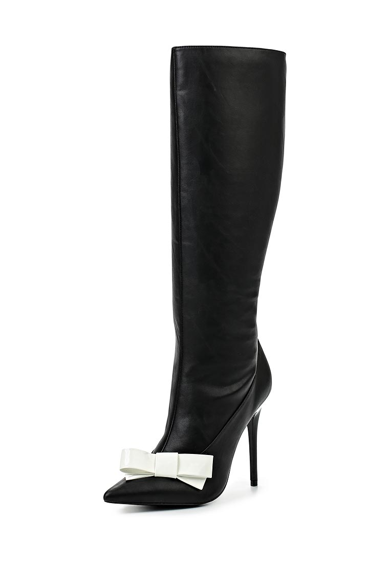 LOST INK BOW FRONT HEELED KNEE-HIGH BOOT BLACK