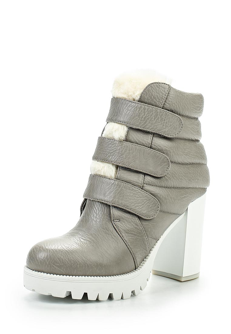 LOST INK HIGH HEELED 3 VELCRO STRAP ANKLE BOOT GREY & WHITE