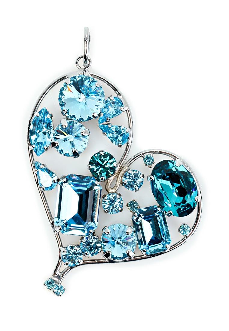 Крупная подвеска-сердце Malu с кристаллами Swarovski небесно-голубого цвета - украшение...